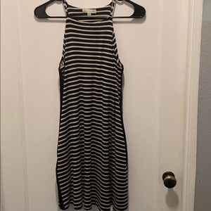 Striped mini dress with high neck